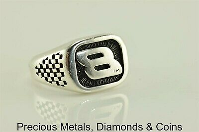 Sterling Silver Old School Dale Jr #8 Checkered Flag Band Ring 925 Sz: 6 ](Checkered Flag Ring)