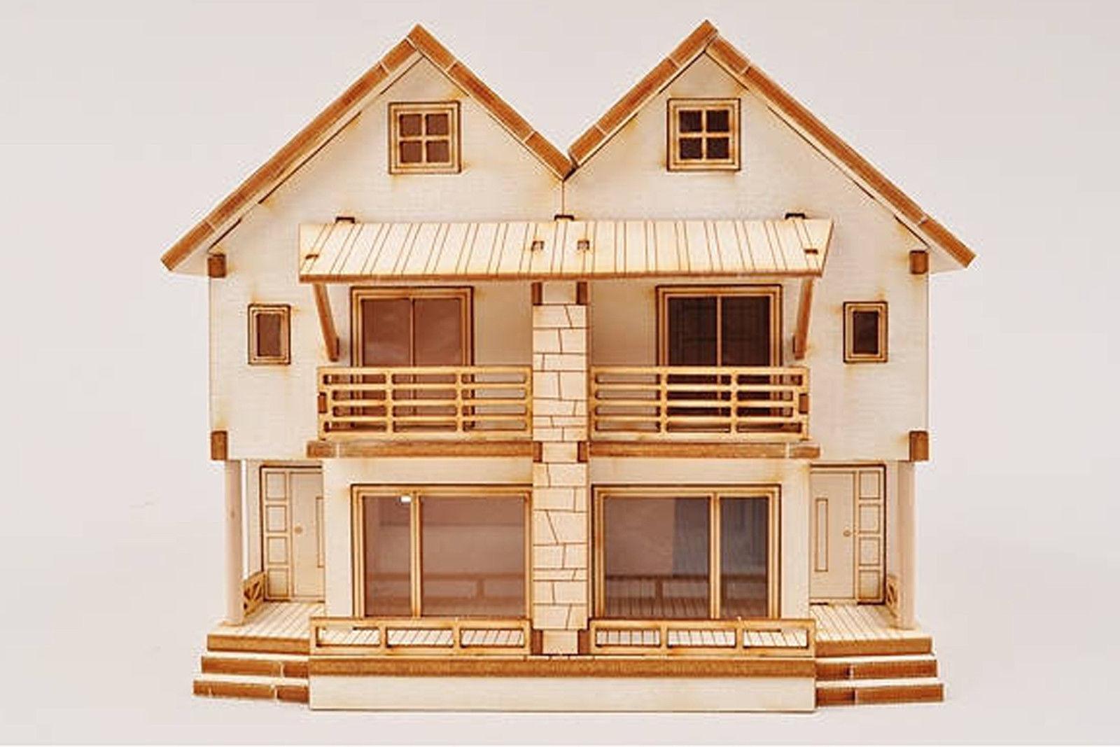 3D DUPLEX WOODEN HOUSE MODEL KIT HO scale 1/87 Miniature Home Kits Sets  Diorama