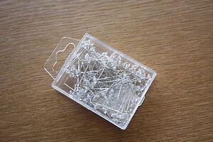 100 x CLEAR CRYSTAL HEADED PINS 5mm x 35mm BRIDAL WEDDING FLORAL CRAFTS