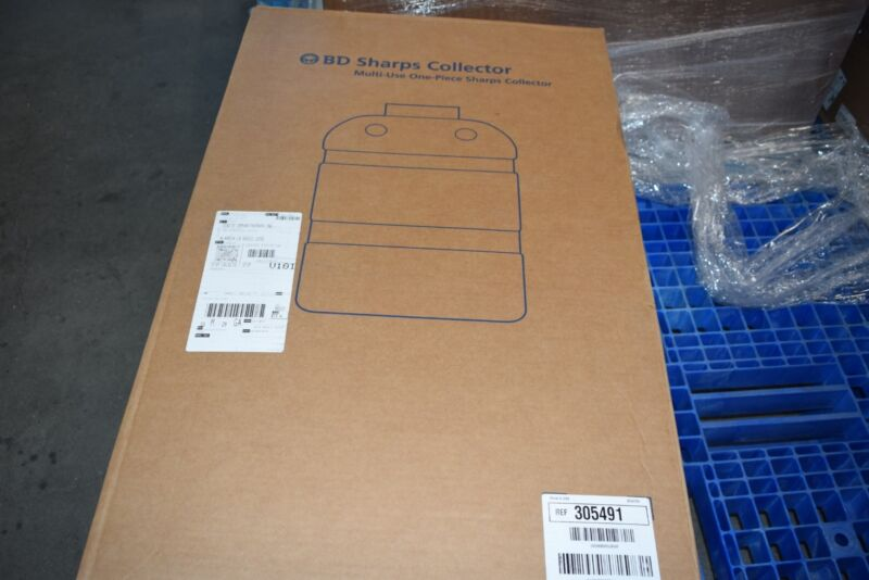 Box of 8 NEW 5 Gallon Red BD Sharps Container with Open Top 305491