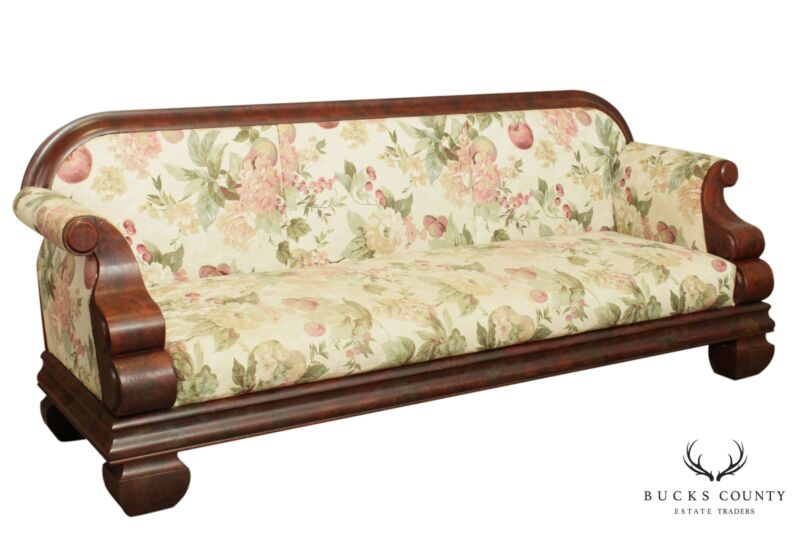 Antique American Empire Mahogany Long Sofa