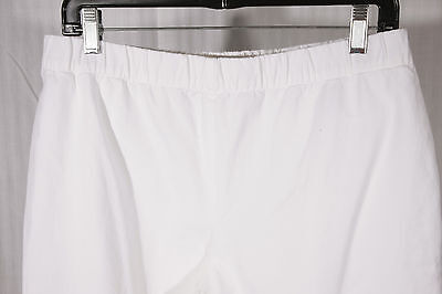 *New* SUSAN GRAVER Women's Size 12 White Pull-On Stretch Crop Ankle Pants