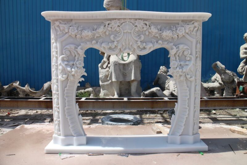 INCREDIBLE HAND CARVED MARBLE FRENCH STYLE  ESTATE FIREPLACE MANTEL - ZB-F003
