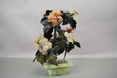 Vintage Chinese Jade Pot Bonsai Plant Figurine Sculpture Multi Gemstones for sale  Shipping to Canada