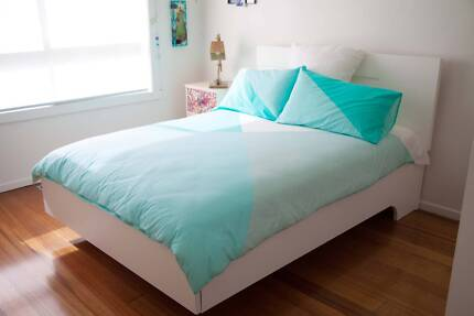 Floating White Timber Double Bed in immaculate condition