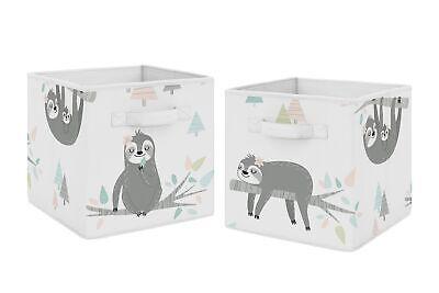 Pink Fabric Storage Bins (Sweet Jojo Foldable Fabric Storage Cube Bins for Pink and Grey Jungle Sloth)