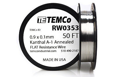 Temco Flat Ribbon Kanthal A1 Wire 0.9mm X 0.1mm 50 Ft Resistance A-1