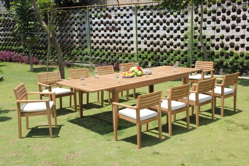 """11-pc Outdoor Teak Dining Set: 122"""" Rectangle Table, 10 Stacking Arm Chairs Mont"""