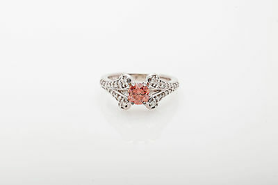 Estate 2ct Genuine PINK Diamond 14k White Gold Wedding Ring