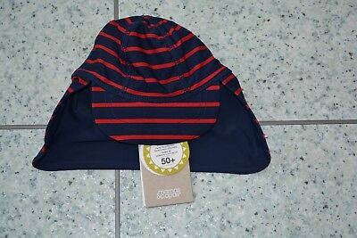 NEW Mamas and Papas Boys Blue and Red Striped Sun Swim Hat 9-12 Months