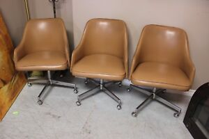 Set of 3 Vintage Chairs on wheels $45 for the set