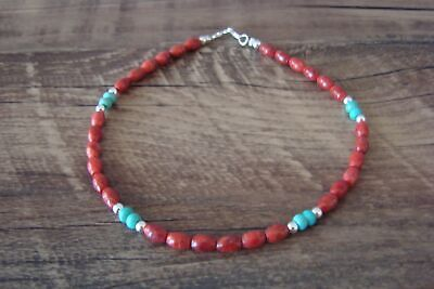 Navajo Hand Strung Coral and Turquoise Beaded Anklet by D. Jake