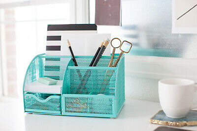 Blu Monaco Unique Metal Aqua Desk Organizer With Drawer