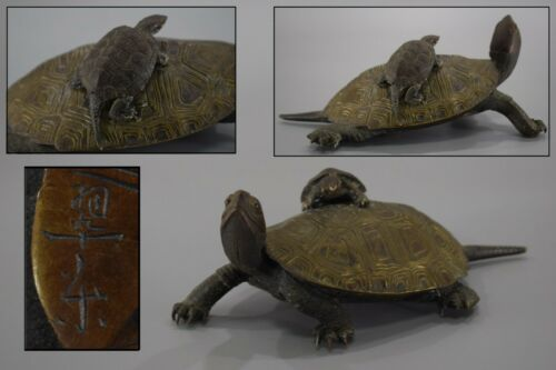 Japanese Antique Meiji Bronze Turtle Statue Figurine Japan Artist Signed