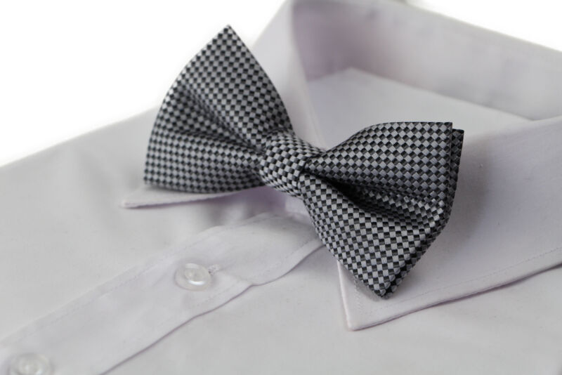 Mens Quality Dark Silver Checkered Patterned Bow Tie