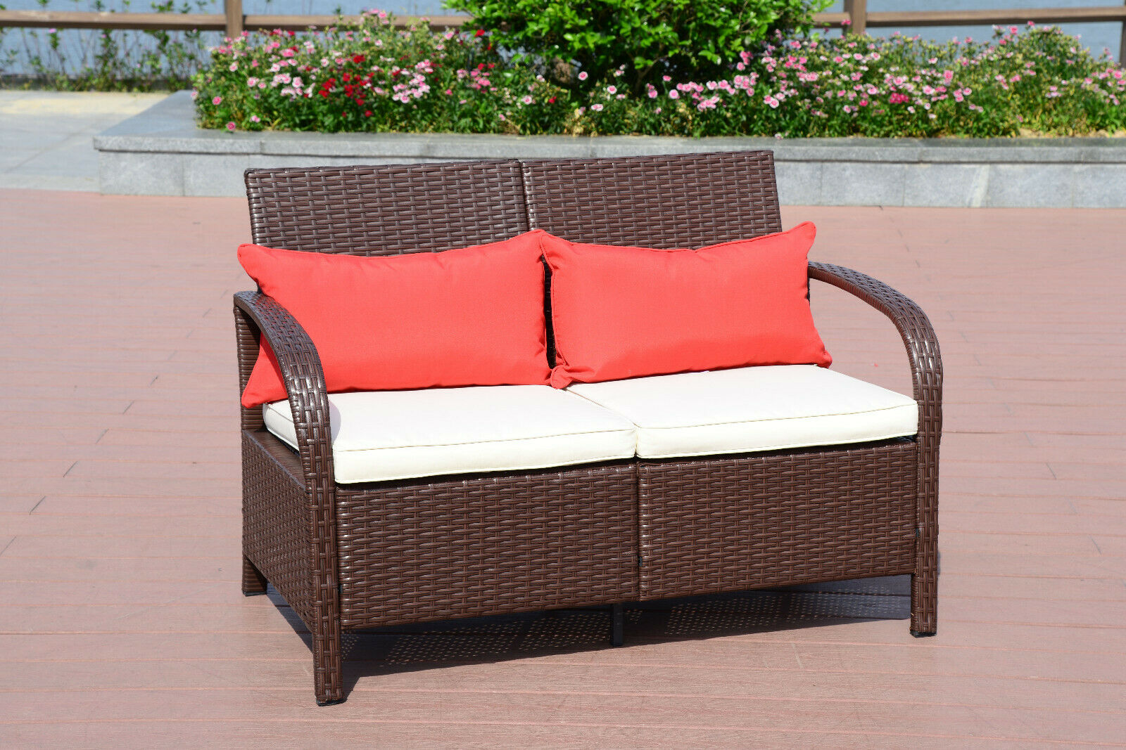 Garden Furniture - 2 PC Wicker Rattan Furniture Bistro Set Loveseat Sofa Outdoor Patio Garden Chair