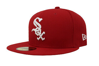 New Era 59Fifty Cap Mens MLB Team Chicago White Sox Red White 5950 Fitted Hat Mlb 59fifty Cap