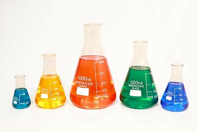 Glass Erlenmeyer Conical Flask Set Of 5 - 50ml 150ml 250ml 500ml 1000ml.