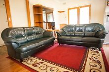 Dark Green Leather 3 Seater 2x Lounges. Excellent condition Klemzig Port Adelaide Area Preview