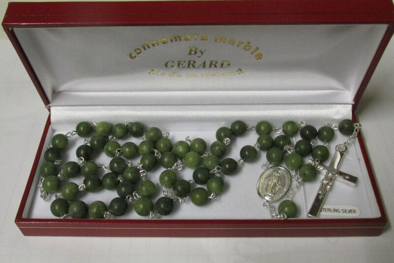 GENUINE Connemara Green Marble/Sterling Silver Rosary Beads Guaranteed Irish
