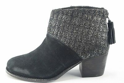 Toms Womens Black Silver Leila Suede Woven Ankle Boot Dress Shoes SZ 6