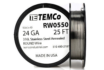 Temco Stainless Steel Wire Ss 316l - 24 Gauge 25 Ft Non-resistance Awg Ga