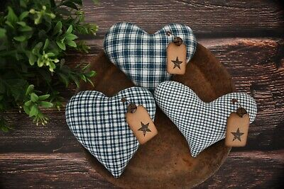 Heart Plaid Fabric Dark Red and Satin Bow Shabby Chic Country