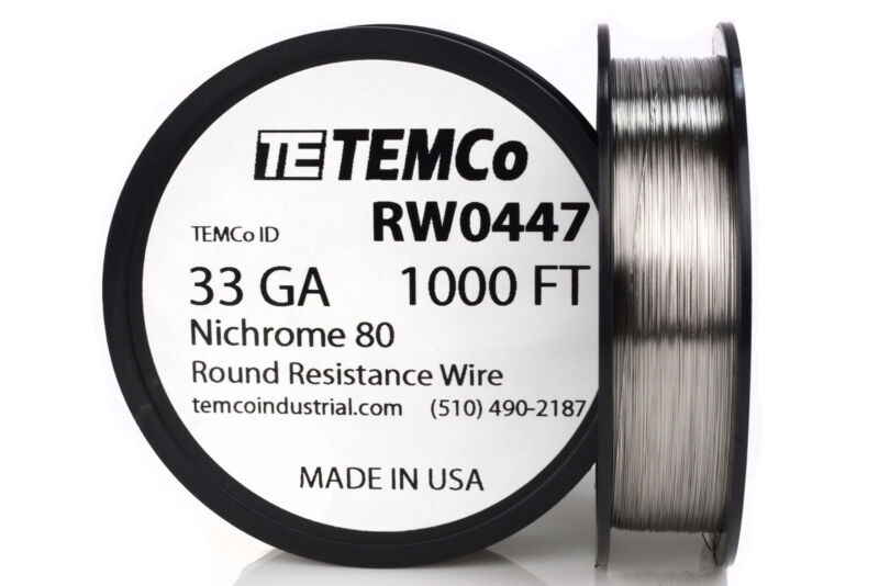 TEMCo Nichrome 80 series wire 33 Gauge 1000 FT Resistance AWG ga