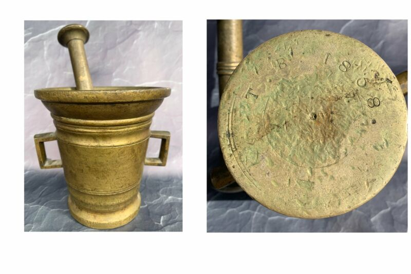 Brass Mortar & Pestle Stamped T.B 1858