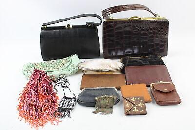 14 x Assorted Vintage HANDBAGS, PURSES & WALLETS Inc Genuine Leather, Beaded Etc
