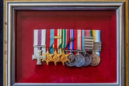 military medal group - display framed