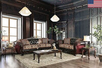 Luxurious Formal Brown Sofa Loveseat 2Pc Set Leatherette Rolled Arms Wood Trim