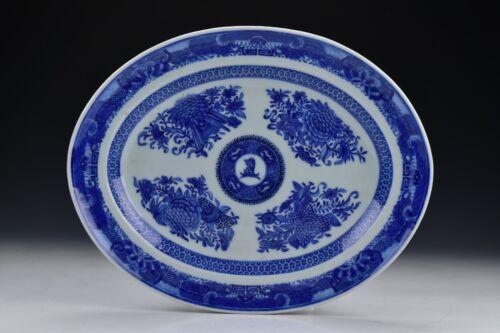 Rare Chinese Export Fizthugh Porcelain Platter Crest of Alexander 19th Century