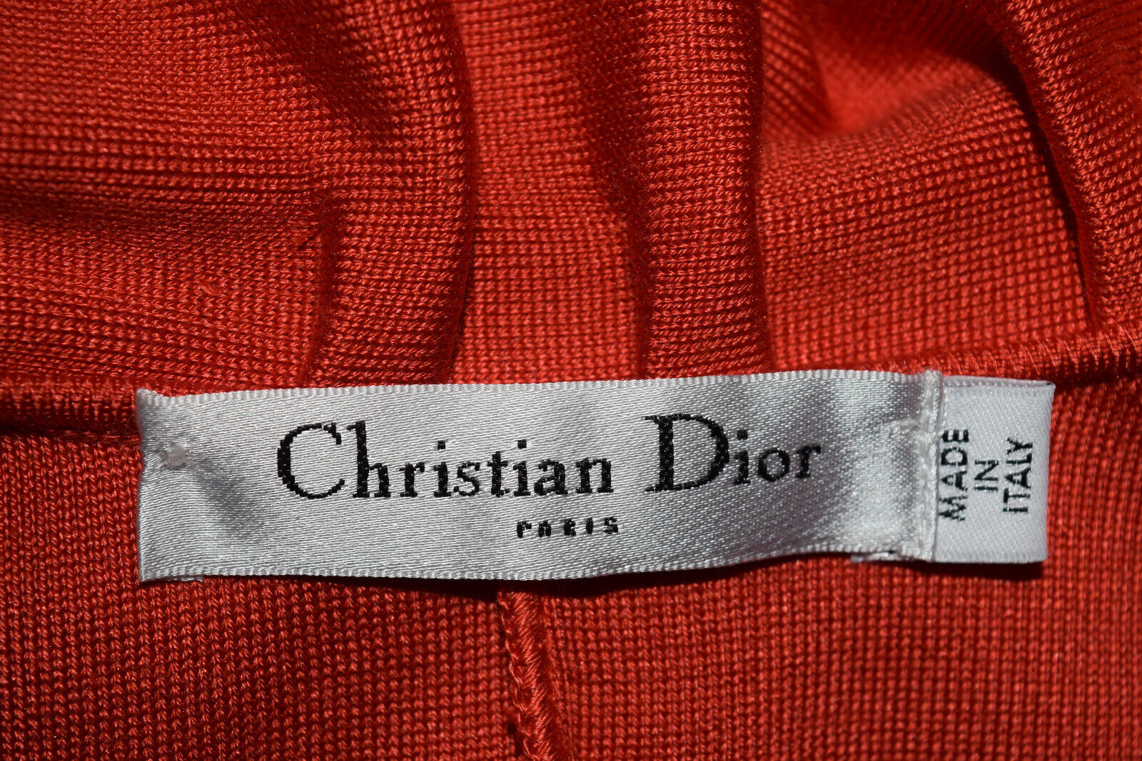 Christian dior tricot rouge volants col bateau robe sans manches taille 4 1902ko