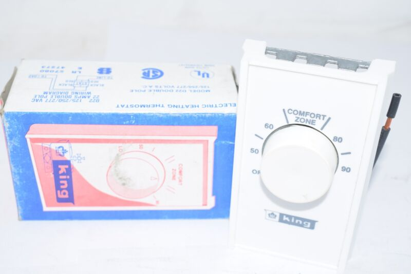NEW King Electric D22 White Double Pole Thermostat Electric Heating