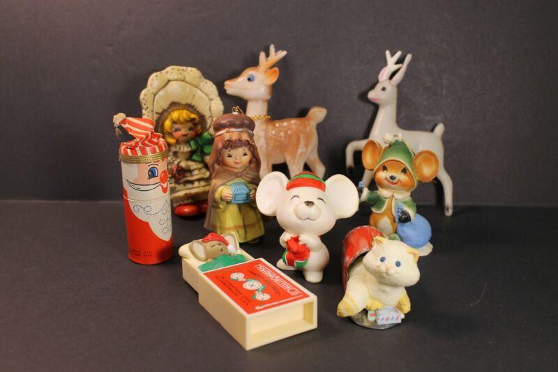 Vintage 70s 80s Lot 9 Plastic Christmas Figurines Ornaments Decor deer kitty cat