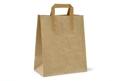 250pcs 300x250x140mm Large Kraft Brown Paper Carrier Bags with Outside Handles