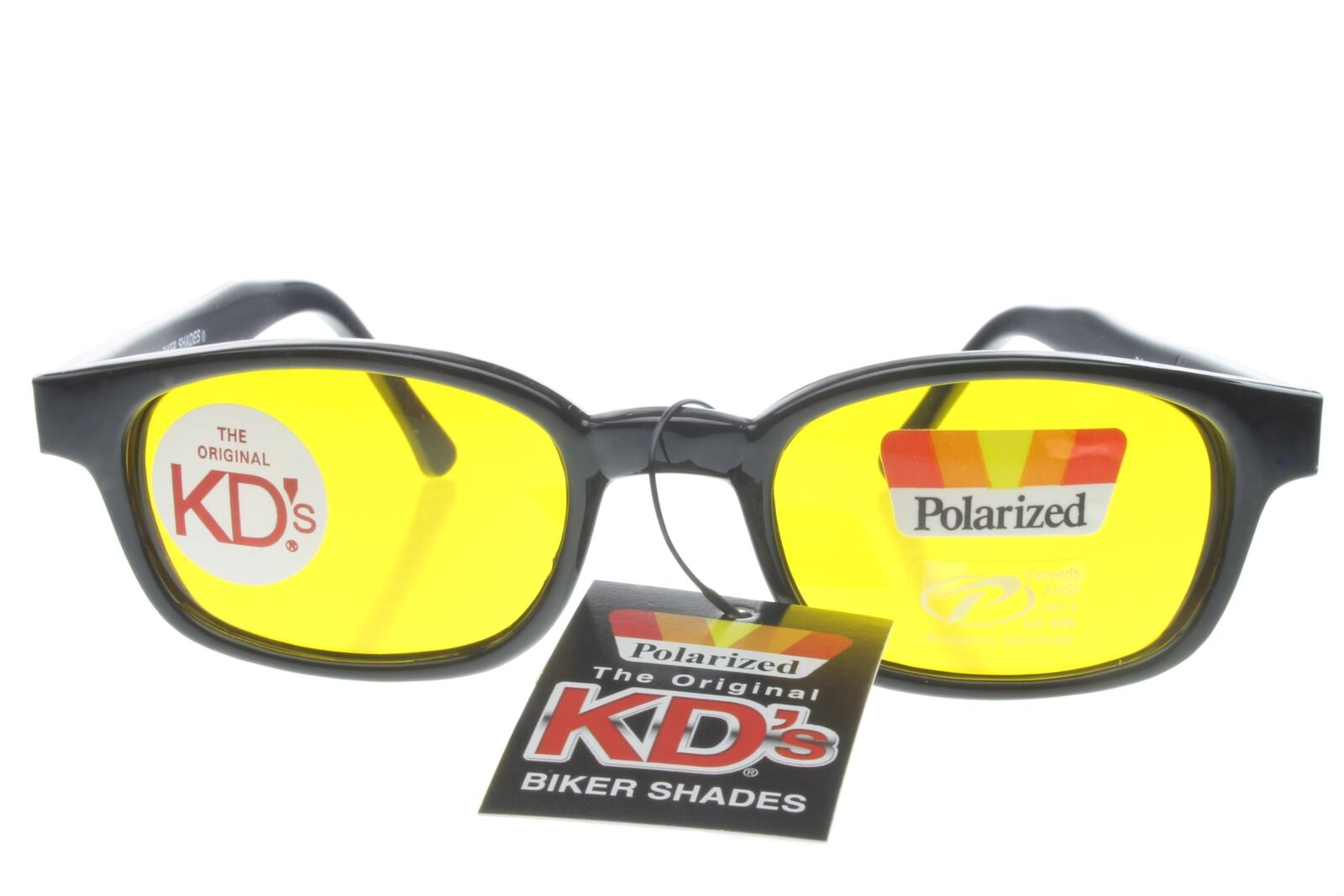 b3d57cfd1a79 Details about KD's Sunglasses Original Biker Shades Motorcycle Polarized  Black Yellow 20129