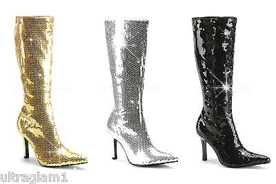 GOLD-SILVER-BLACK Sequin KNEE HIGH BOOTS Zip/Heels CROSSDRESSER/DRAG QUEEN/ 8-12 (Black Sequin Booties)