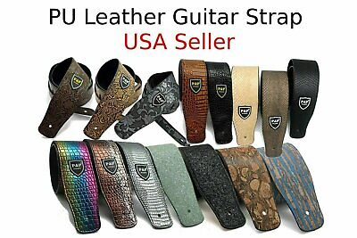 Guitar Strap Leather PU Plastic Adjustable Acoustic Electric