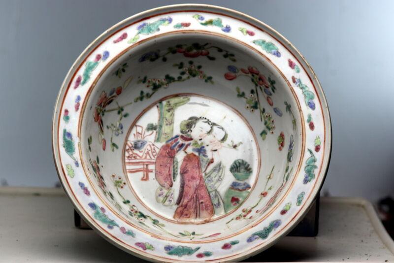 rare Antique Chinese Porcelain Bowl Famille Rose Kangxi