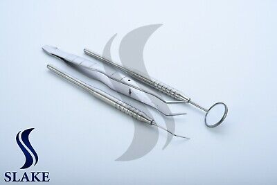 3 Pcs Basic Dental Set Mirror Explorer College Plier Dental Instrument Set