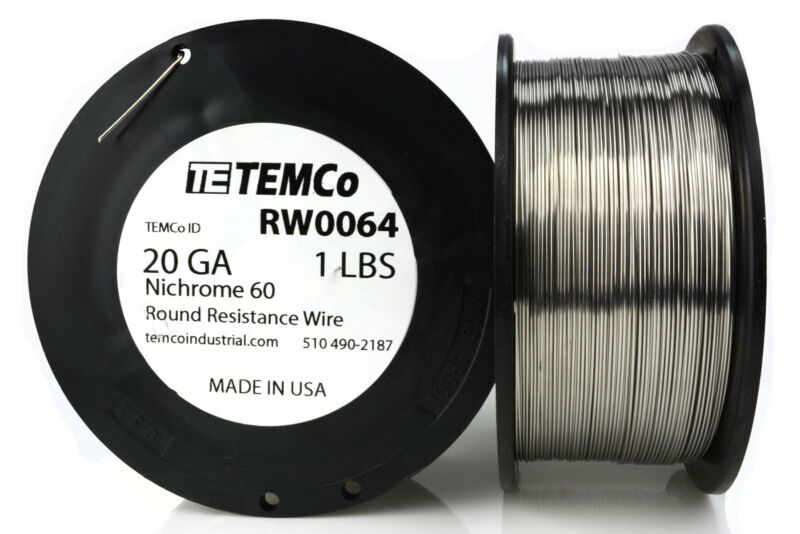 TEMCo Nichrome 60 series wire 20 Gauge 1 lb (347 ft)Resistance AWG ga