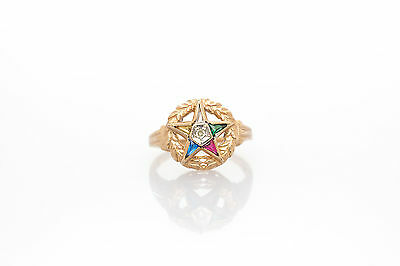 1940s Jewelry Styles and History Antique 1940s 1ct TRILLON GEM Diamond 14k Yellow Gold Eastern Star Ring $195.00 AT vintagedancer.com
