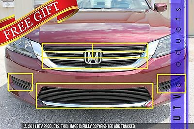 GTG 2013 - 2015 Honda Accord 4dr 10PC Gloss Black Combo Billet Grille Grille Kit