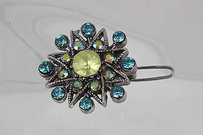 COSTUME VINTAGE BLUE & GREEN STONES STAR SHAPED HAIR BARETTE FASHION 6590
