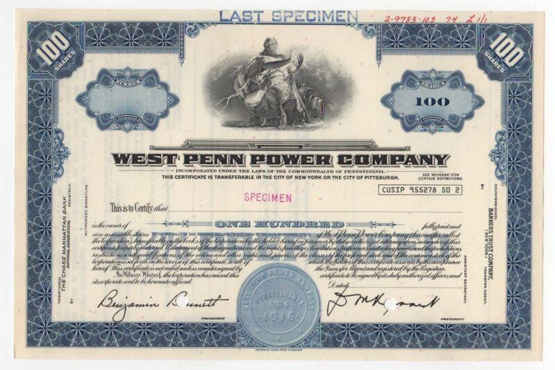 SPECIMEN - West Penn Power Company Stock Certificate