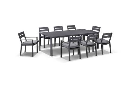 Granada Outdoor 9 Piece Aluminum Charcoal Dining Table Chairs