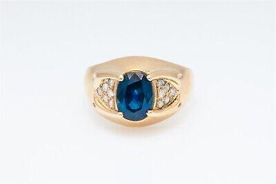 Designer Yellow Sapphire - Designer $7000 4ct Natural Blue Sapphire Diamond 14k Yellow Gold Band Ring 10g