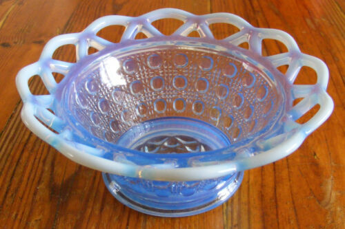 """IMPERIAL GLASS CO. LACED EDGE BLUE OPALESCENT """"SUGAR CANE"""" BELLED NAPPY"""